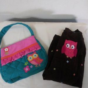 Gymboree dress with pink owl,  purse w/ pink owl